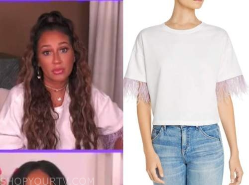 the real, adrienne bailon, white and purple feather trim t-shirt