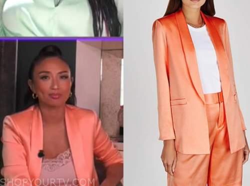 jeannie mai, the real, orange coral peach satin blazer