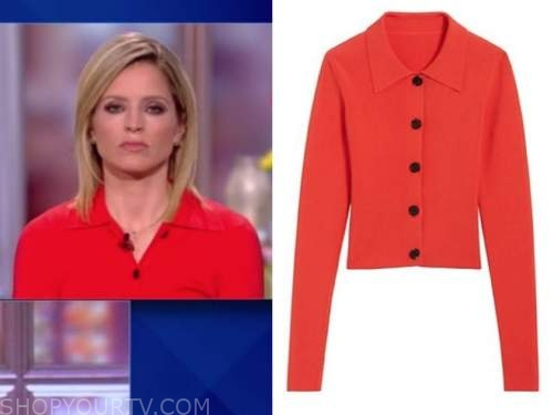 sara haines, the view, red polo collar sweater