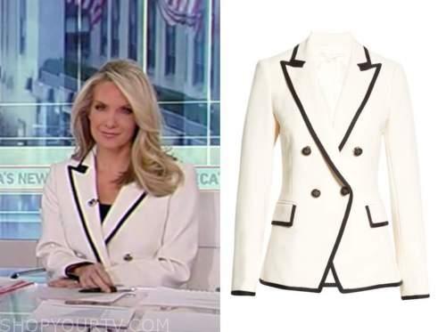 america's newsroom, dana perino, white and black contrast trim double breasted blazer