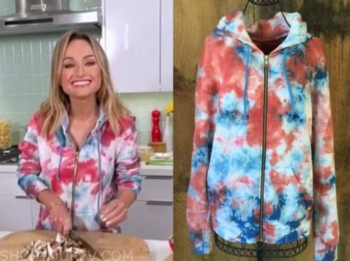 Giada De Laurentiis, the today show, red and blue tie dye hoodie sweater