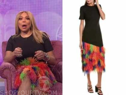 wendy williams, the wendy williams show, black multicolor feather midi dress