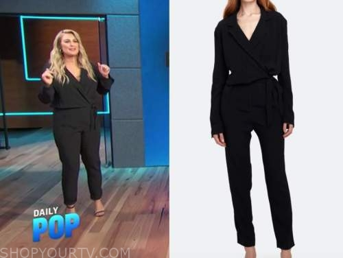 carissa culiner, E! news, daily pop, black wrap jumpsuit