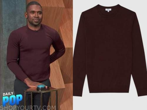 justin sylvester, E! news, daily pop, burgundy sweater