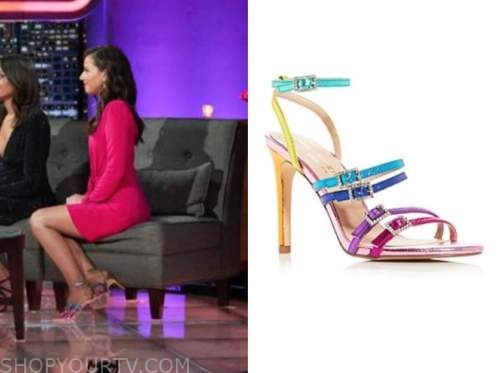 katie thurston, the bachelor, after the final rose, multicolor sandals heels