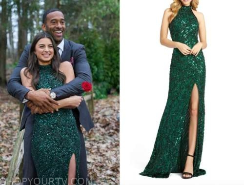 rachael kirkconnell, the bachelor, green embellished halter gown