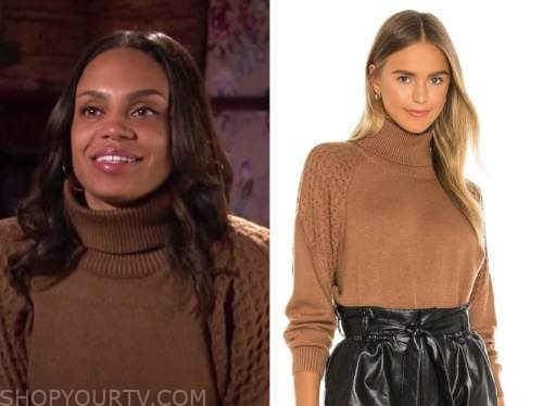 michelle young, the bachelor, brown textured turtleneck sweater