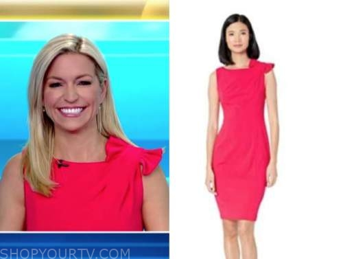 ainsley earhardt, fox and friends, hot pink bow sheath dress