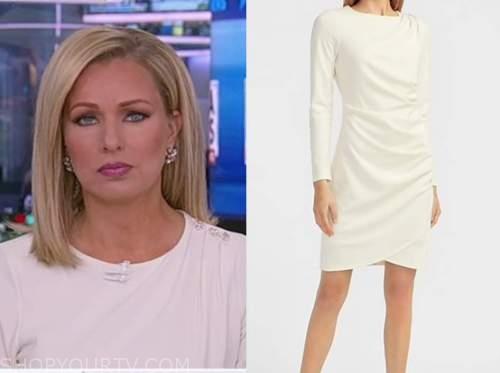 sandra smith, ivory button shoulder dress, america reports
