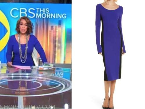 gayle king, cbs this morning, blue and black colorblock knit dress