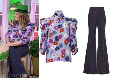 jenna bush hager, the today show, floral mock neck top, jeans
