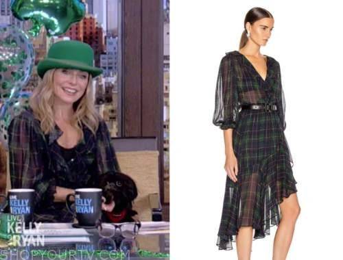 kelly ripa, live with kelly and ryan, green tartan plaid ruffle dress