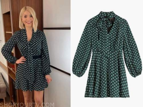 holly willoughby, this morning, green and black floral tie neck dress