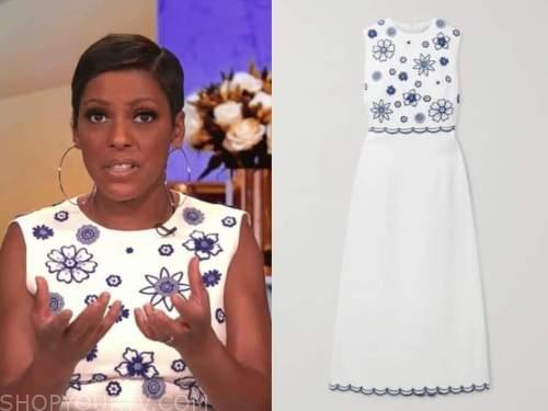 tamron hall, tamron hall show, white and blue geometric dress