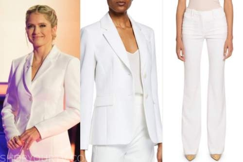the chase, sara haines, white blazer and pant suit