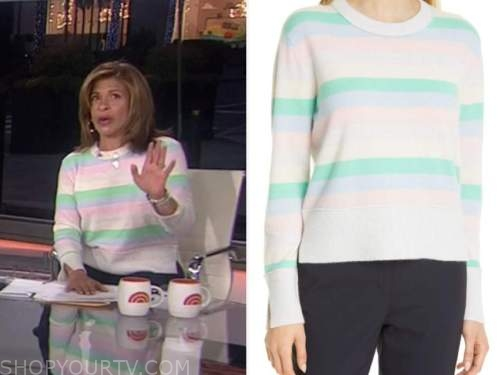 hoda kotb, the today show, rainbow pastel multicolor striped sweater