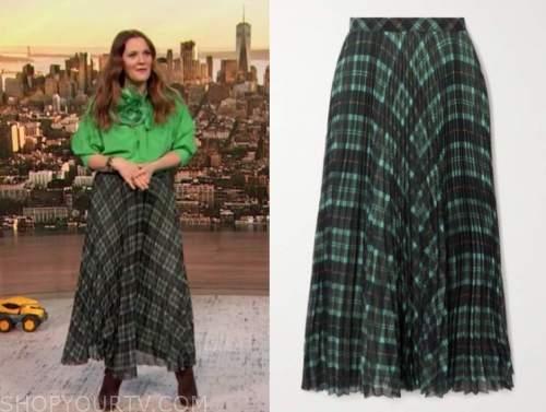 drew barrymore show, drew barrymore, green plaid pleated midi skirt