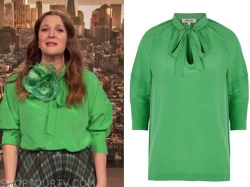 drew barrymore, drew barrymore show, green tie neck blouse