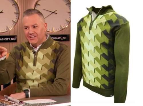 ross mathews, green geometric sweater, drew barrymore show