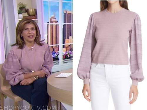 the today show, hoda kotb, purple pink sweater