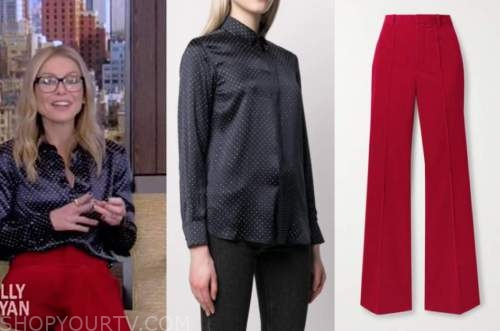 live with kelly and ryan, kelly ripa, blue studded shirt, red pants