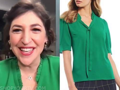 mayim bialik, drew barrymore show, green ruffle trim top