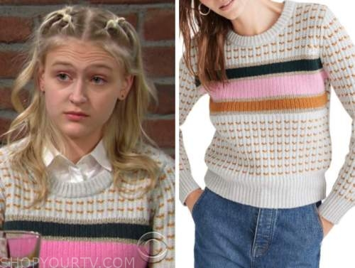 faith newman, alyvia alyn lind, the young and the restless, metallic stripe sweater