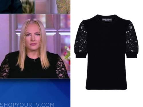 meghan mccain, the view, black lace short sleeve sweater