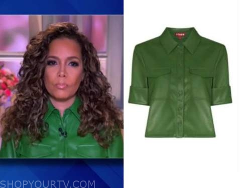 the view, sunny hostin, green leather shirt