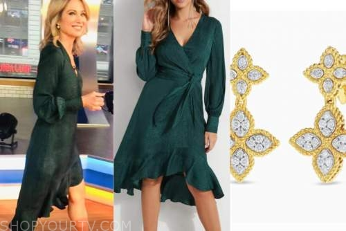 amy robach, good morning america, green wrap dress, gold flower earrings