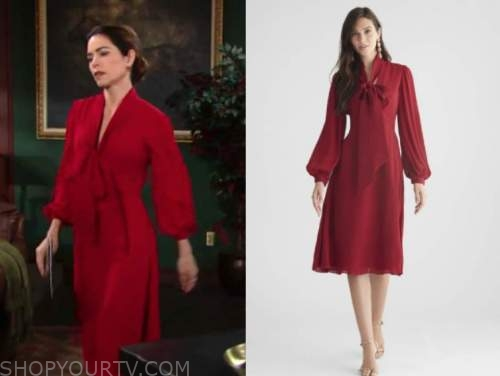victoria newman, amelia heinle, the young and the restless, red tie neck dress