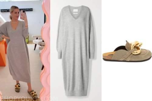 morgan stewart, grey sweater dress, chain loafer mules, instagram, fashion