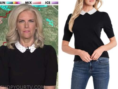 janice dean, fox and friends, black and white polka dot collar short sleeve sweater
