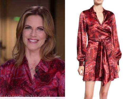 natalie morales, red satin wrap printed dress, the today show