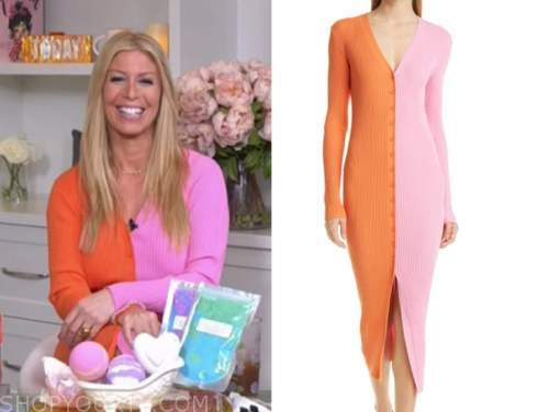 jill martin, the today show, pink and orange colorblock sweater dress