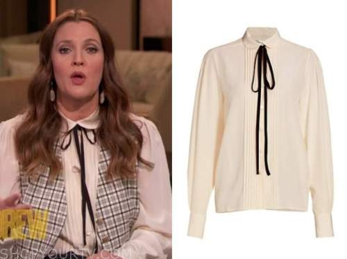 drew barrymore show, drew barrymore, ivory pleated tie neck blouse