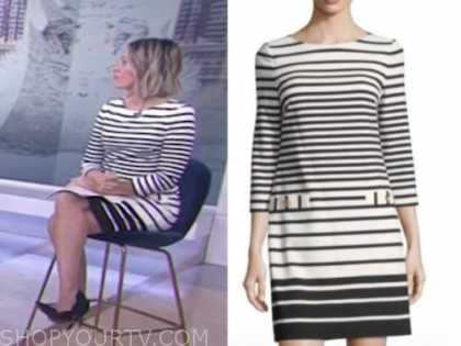 dylan dreyer, the today show, black and white striped shift dress