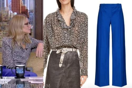 kelly ripa, live with kelly and ryan, floral ruffle blouse, blue pants