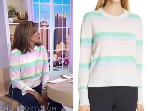 the today show, hoda kotb, pastel striped sweater