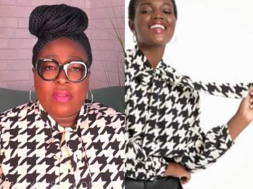 loni love, the real, black and white houndstooth tie neck blouse