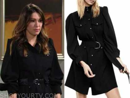 chloe mitchell, the young and the restless, elizabeth hendrickson, black shirt dress