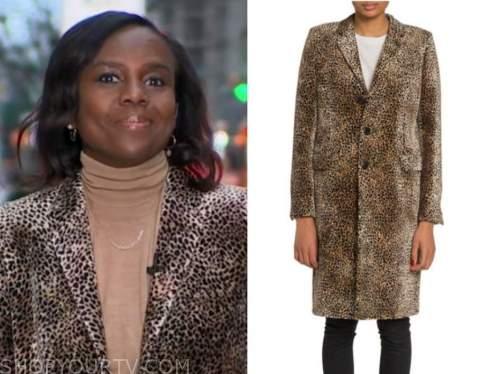 deborah roberts, good morning america, leopard velvet coat