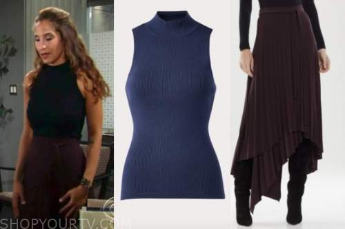 lily winters, the young and the restless, turtleneck top, burgundy skirt