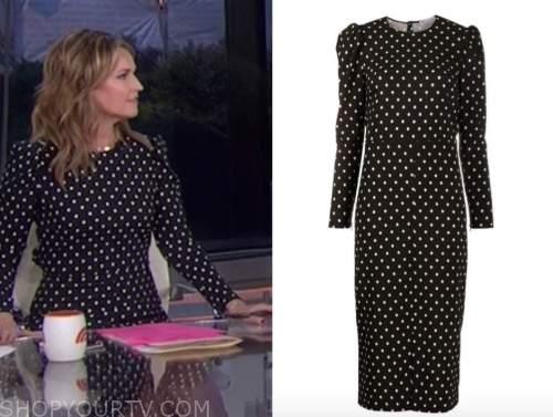 savannah guthrie, the today show, black and white polka dot midi dress