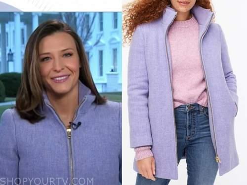 mary bruce, good morning america, lilac purple zipper coat