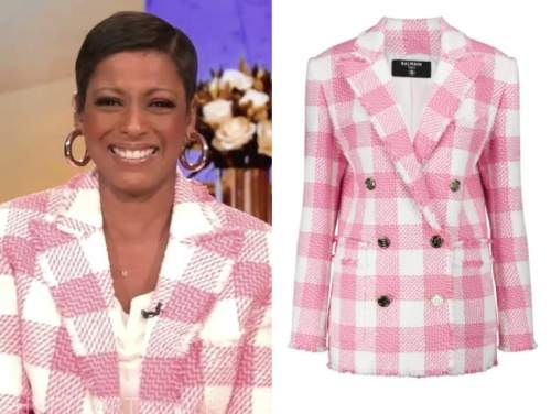 tamron hall, tamron hall show, pink gingham check tweed double breasted blazer