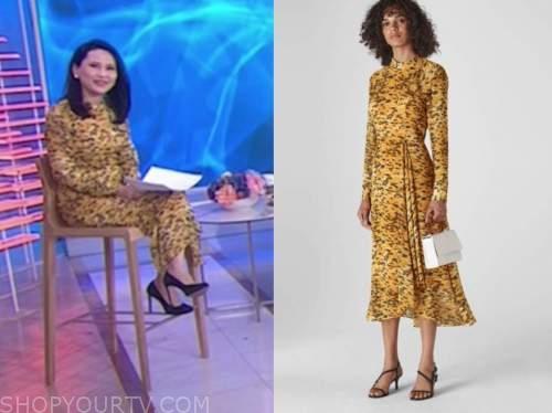 vicky nguyen, the today show, yellow animal print midi dress