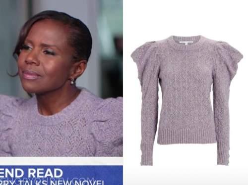 deborah roberts, good morning america, purple puff sleeve sweater