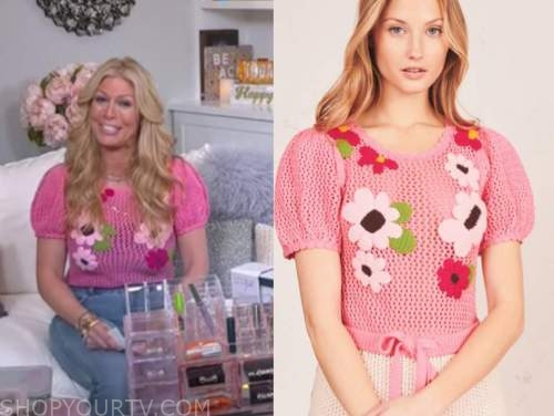 the today show, jill martin, pink floral embroidered bodysuit knit top