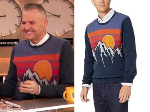 ross mathews, drew barrymore show, navy blue landscape sweater